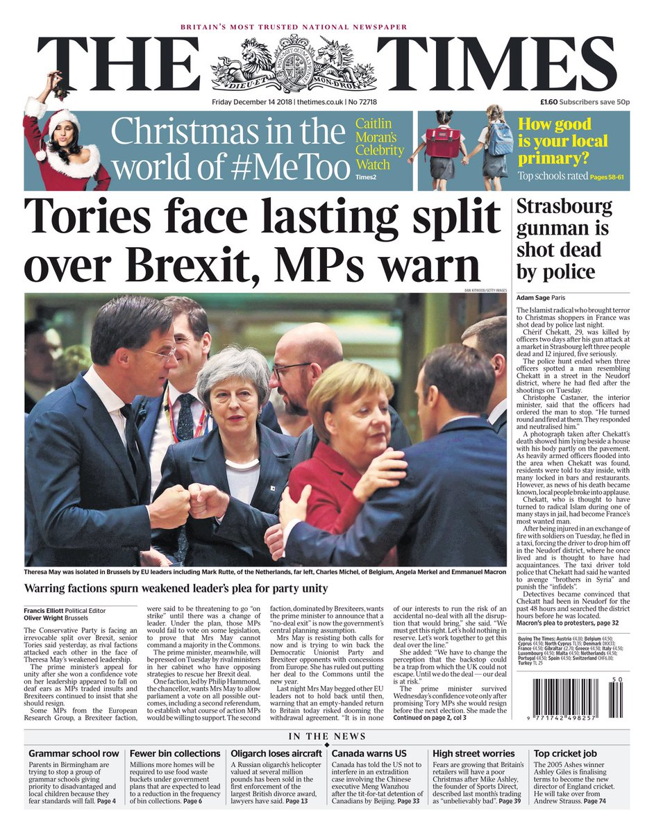 Friday's Times: 'Tories face lasting split over Brexit, MPs warn' #tomorrowspaperstoday #bbcpapers (via @hendopolis) https://t.co/C3ZX16CjJp