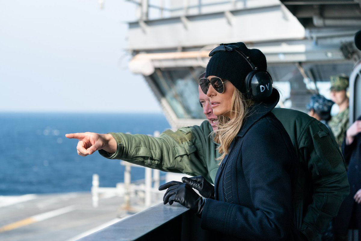 Yesterday, @FLOTUS observed flight operations and received a flight deck control briefing from @USNavy personnel aboard the USS George H.W. Bush!