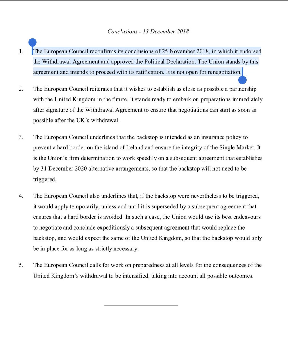 "Summit conclusions: ""The Union stands by this agreement... it is not open for renegotiation"" EU27 conclude - paragraph on ""further reassurances"" that was there has been deleted. PM could do with some help from Tusk/Juncker press conference because it's not here: #euco"