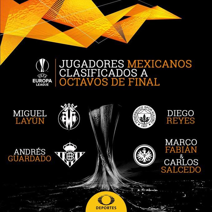 🇲🇽🏆¡Estos son los mexicanos que siguen en la lucha por la Europa League!🏆🇲🇽 #CronicaTD✍🏻 Layún: Reyes: Guardado: Salcedo y Fabián: Photo