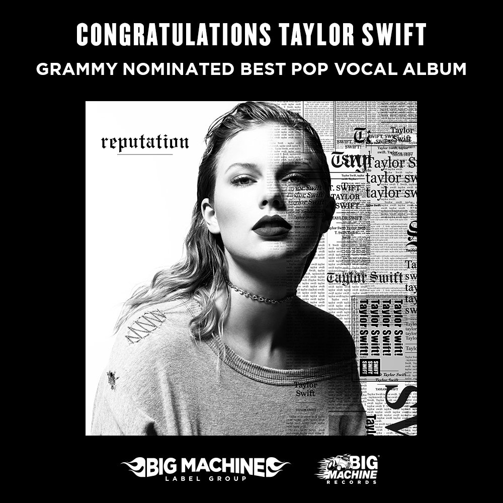 The @RecordingAcad announced the nominations for the 2019 GRAMMY Awards, and reputation clinched a nomination for Best Pop Vocal Album. Watch the awards on February 10, 2019 on @CBS. #GRAMMYs Listen to #reputation here: taylor.lnk.to/getrepTW