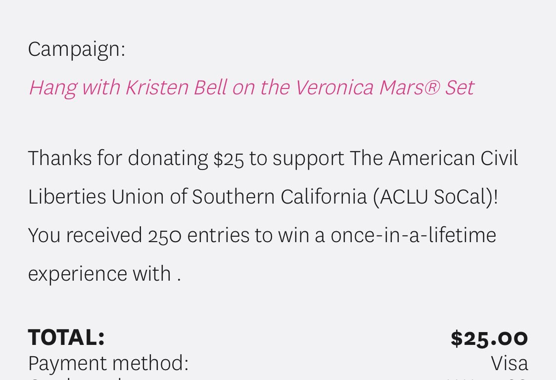just donated $25 to the ACLU and entered to hang out with @IMKristenBell on the set of Veronica Mars (one of my favorite shows ever). you can donate here too: omaze.com/veronicamars