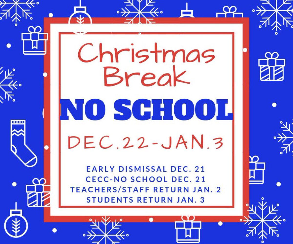 Christmas break is right around the corner! Finish the first half of the school year strong....we want to see ALL of you for the remaining school days of 2018. @HenryElementary @CIScards345 @CMSCardinals @CHSCards @ClintonTechSch  #CardinalPride