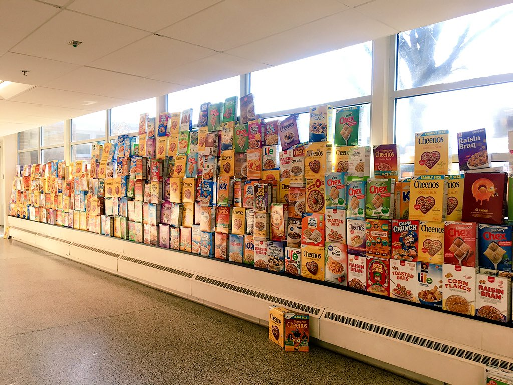 How high will our cereal mountain get? Tomorrow is the last day to bring in a box(es) to add to our mountain and tomorrow is... (drum roll) Pajama Day! 🥳  All the cereal boxes will be donated to AFAC. <a target='_blank' href='https://t.co/CbzJnaMJCw'>https://t.co/CbzJnaMJCw</a>
