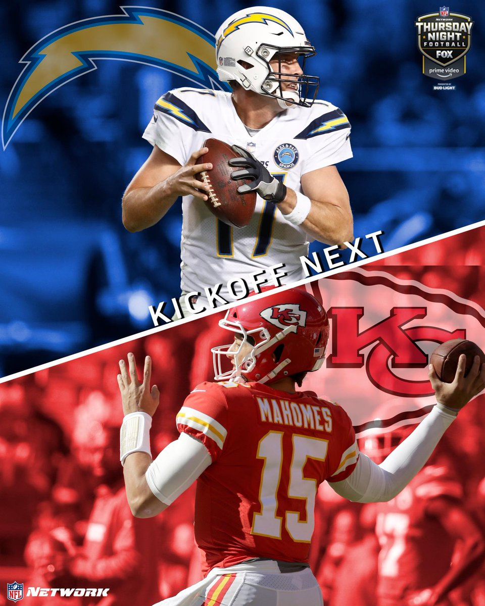 Philip Rivers vs. Patrick Mahomes. It's an AFC West showdown between the @Chargers and @Chiefs!  Kickoff is NEXT on NFLN | @NFLonFOX | @AmazonVideo!