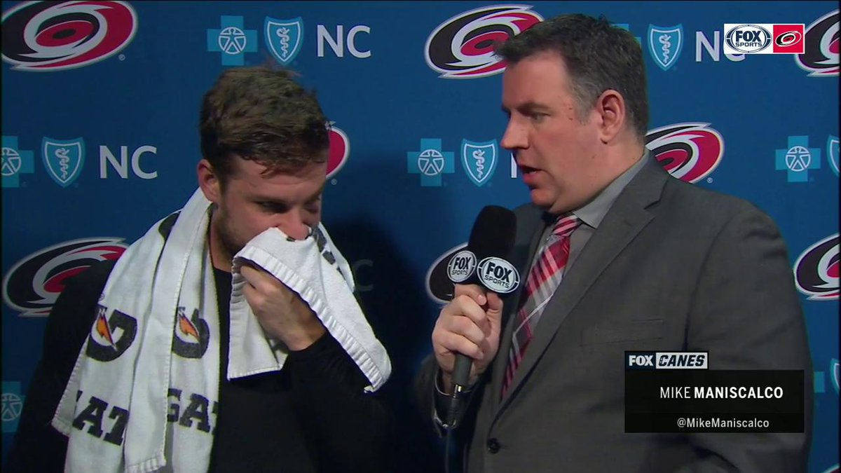 """I can still see and it's still attached, which is nice,"" -de Haan with @MikeManiscalco about his recent eye injury.   WATCH 
