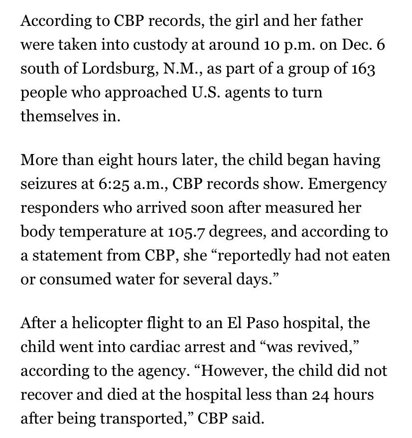 "How unimaginably awful: A 7-year-old girl from Guatemala taken into Border Patrol custody died of dehydration and shock. Her body temperature was 105.7 degrees and it appeared she hadn't ""eaten or consumed water for several days"" https://t.co/smaRnGpPbn"