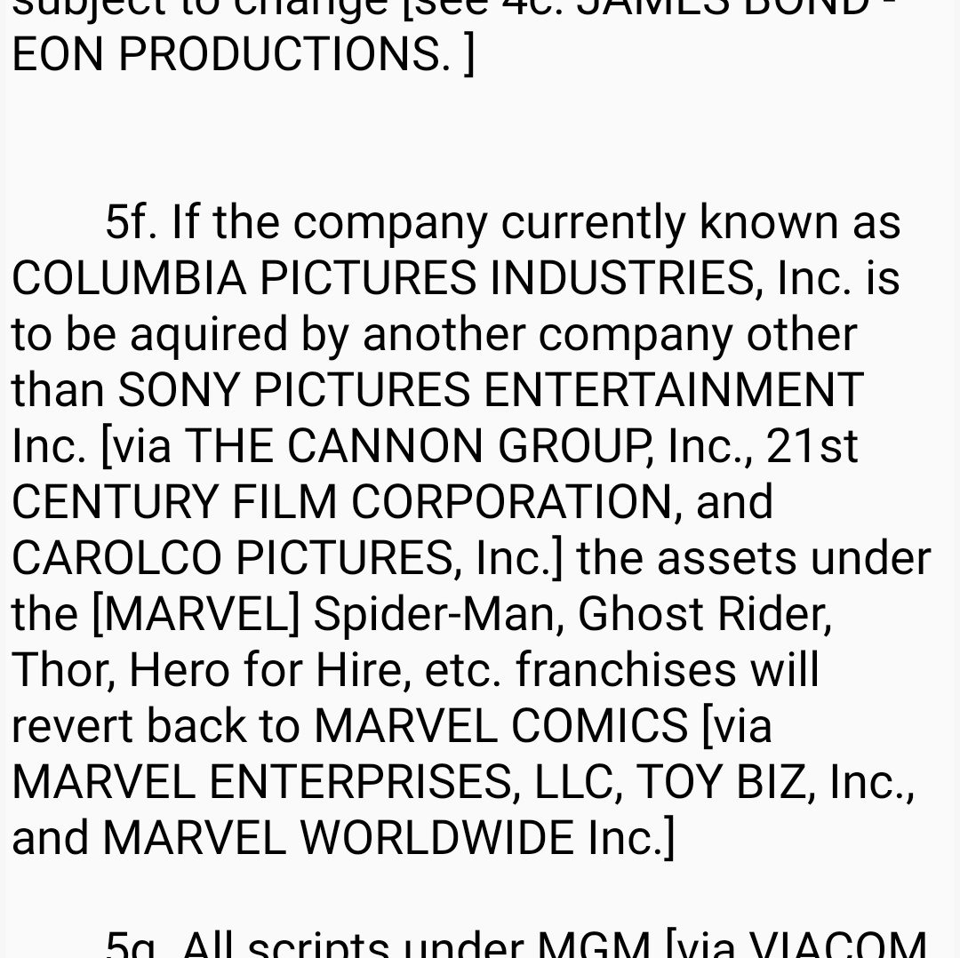 Took me a while to find it but I went onto a old Sony Pictures Entertainment website and found A contract that specifies about characters owned by Columbia Pictures back in 1997, including James Bond, Men in Black and Spider-Man. <br>http://pic.twitter.com/g65bLx2W99