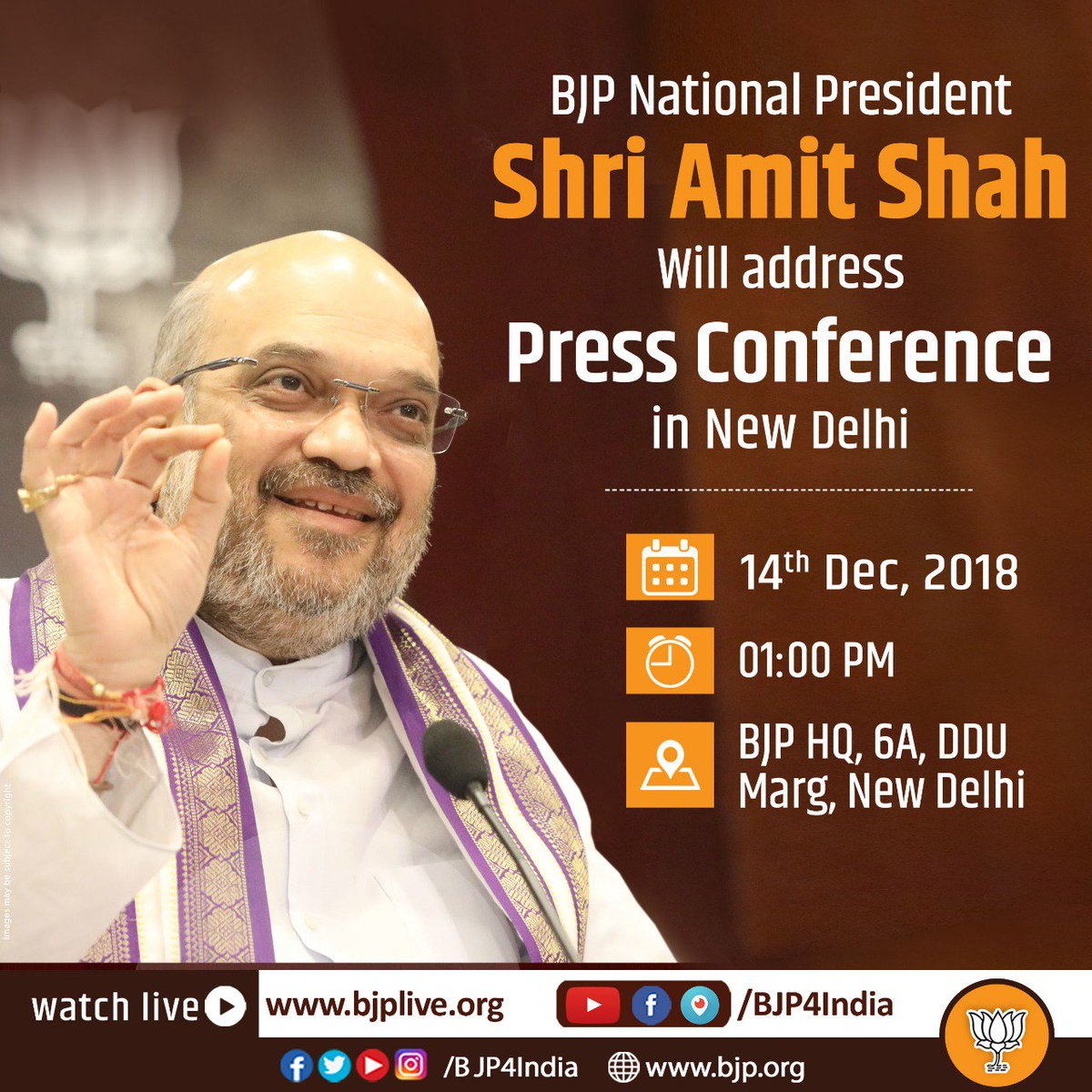 BJP National President Shri @AmitShah will address a press conference at 1 pm today at BJP HQ. Watch at https://t.co/vpP0MI6iTu and https://t.co/jtwD1yPhm4.
