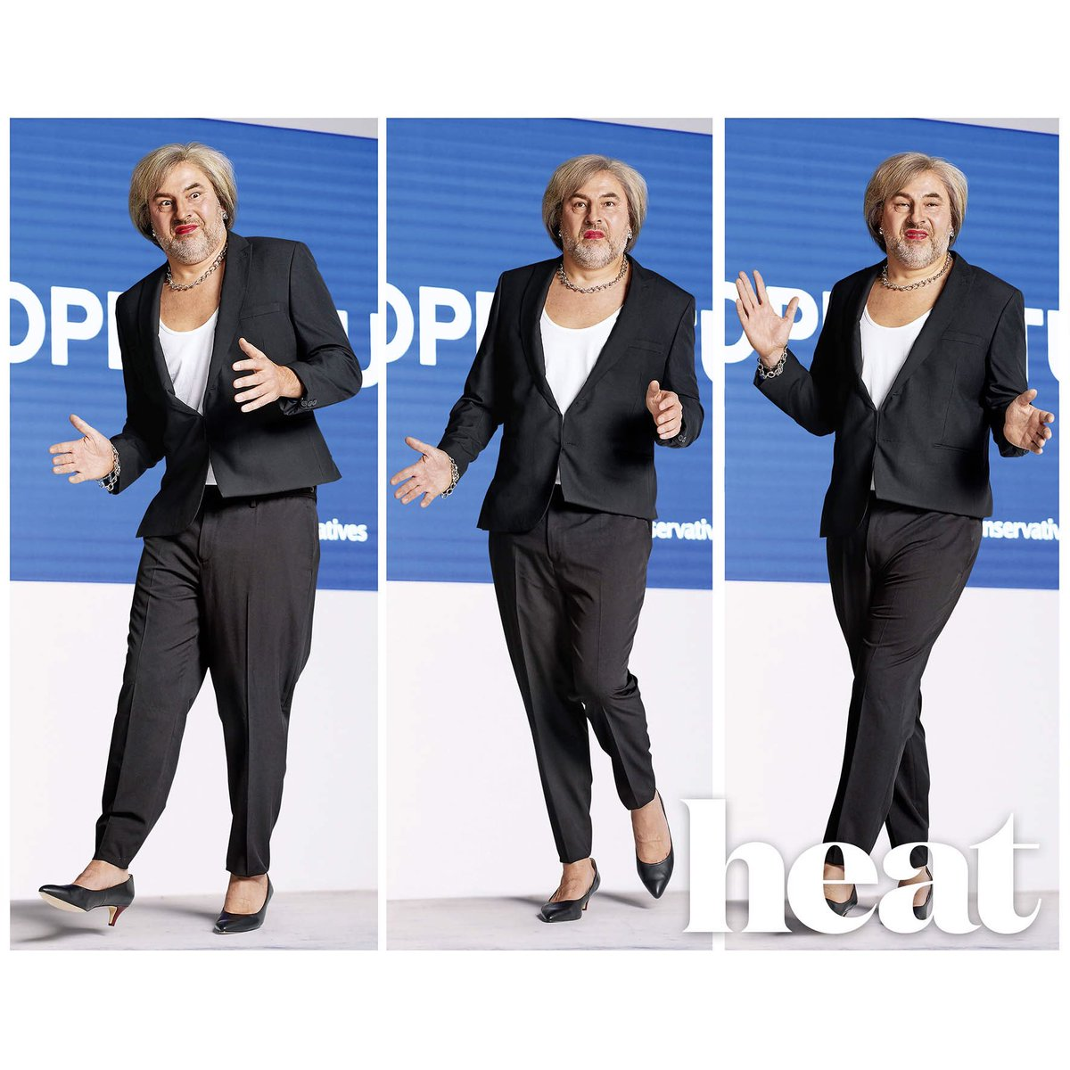 It's dress up time in Heat Magazine and here is me as Theresa May grooving to 'Dancing Queen'...