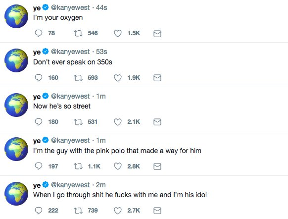 Kanye is going off.
