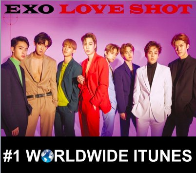 #EXO debuts at #1 on the Worldwide iTunes Chart with their new repackaged Album #LoveShot after topping iTunes Album Charts in 60 countries around the world!👏1⃣💿🌎🕺🕺🕺🕺🕺🕺🕺🕺👑 https://t.co/B1Ix6uPNWQ