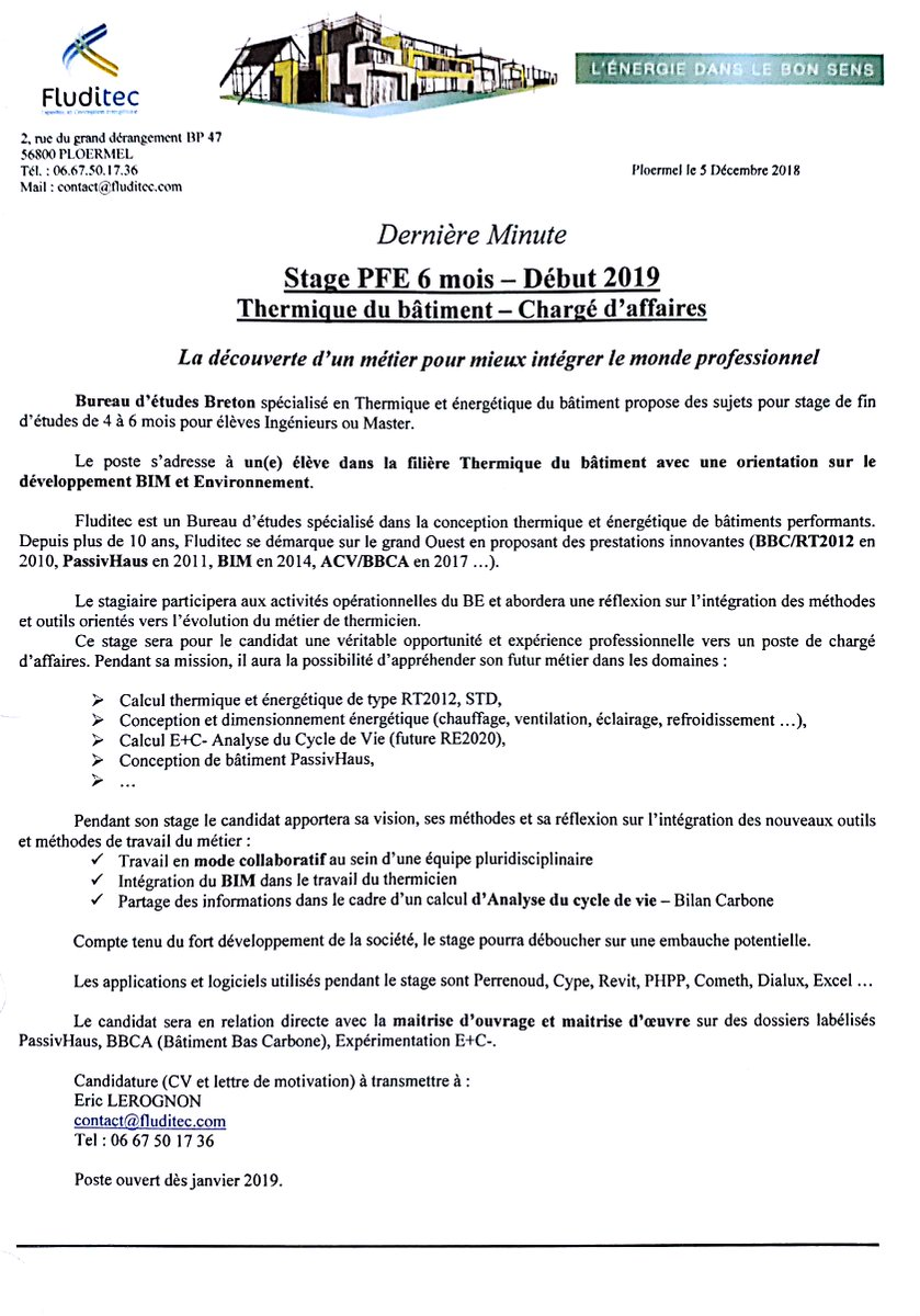Bimeo On Twitter Recherche Stagiaire Pour Be Thermique 6