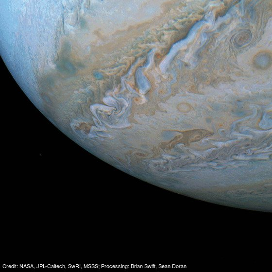Swimming on Jupiter: https://t.co/9QbnnKdSZb by @NASA, @NASAJPL, @swri, MSSS;sProcessing:sBrian Swift, Sean Doran