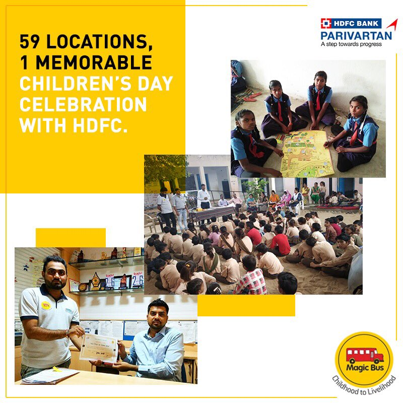 test Twitter Media - #magicbus' DISHA project team celebrated Children's Day in 59 locations across #Maharashtra, #Chhattisgarh, #MadhyaPradesh, & #Rajasthan. @HDFC_Bank's local branch officials participated & helped our children understand managing money. Games & Melas were organised all through. https://t.co/wL2amHFQoc
