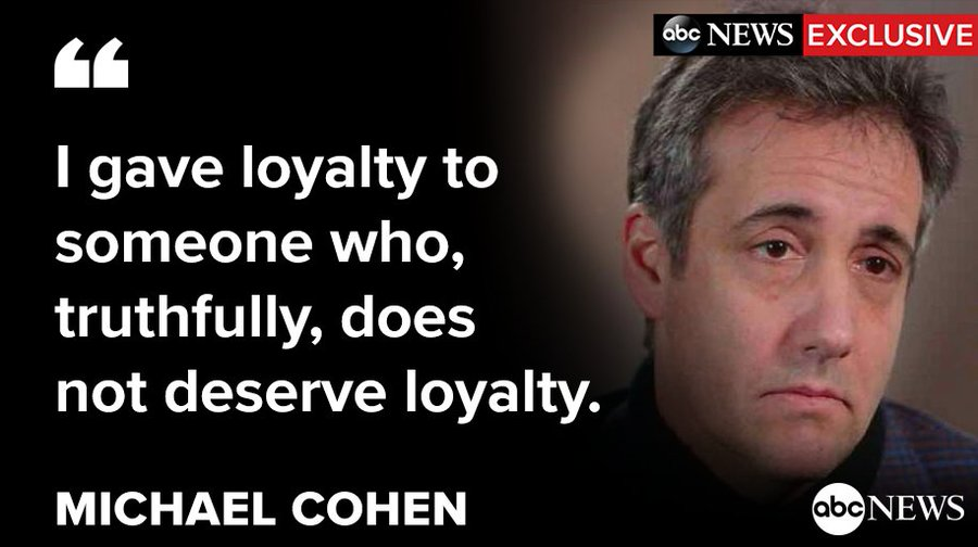 """""""I gave loyalty to someone who, truthfully, does not deserve loyalty,"""" Michael Cohen tells  @ABC News' @GStephanopoulos.  Watch the exclusive interview only on @GMA. http://abcn.ws/2EucyML"""