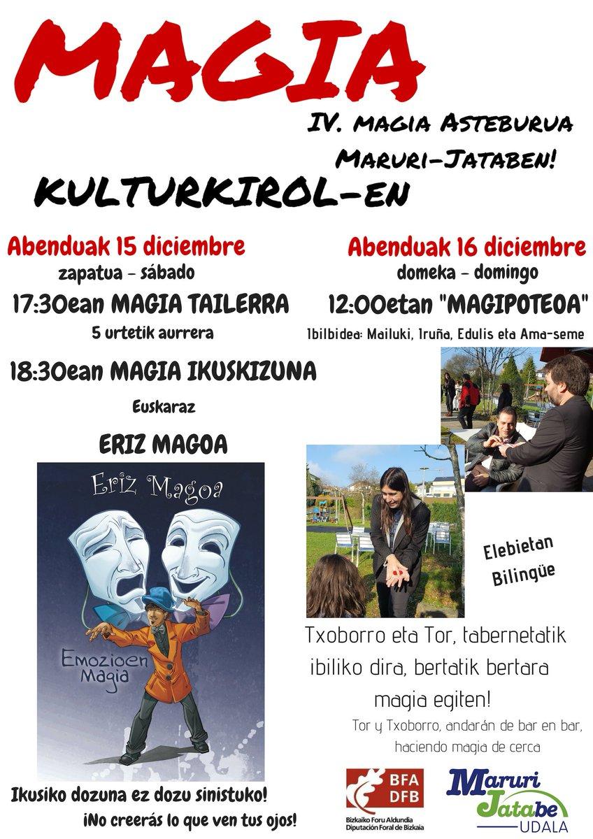 Asteburu honetarako planik ez? Erdu @Maruri_Jatabe -ra #magiaz gozatzera! #uribe #Magia #Tor Magoa #Txoborro @Erizmagoa https://t.co/xSvobGsZzq