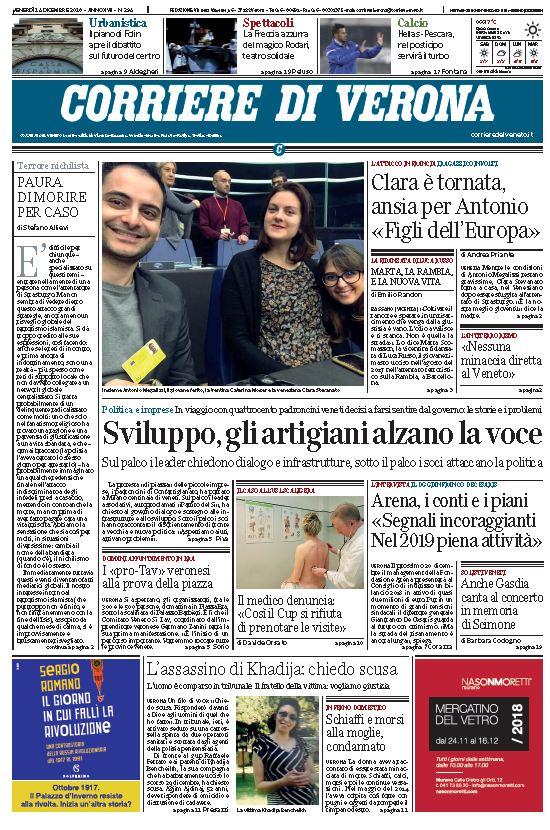 Ecco la prima pagina del Corriere di #Verona https...