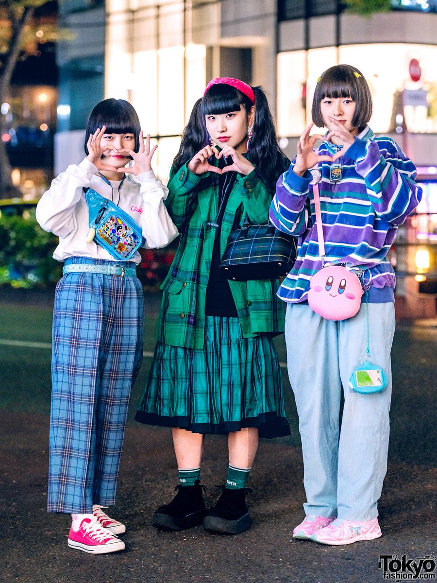Japanese students Yumi, Na-Co, and Nanase on the street in Harajuku wearing vintage and resale fashion plus items from Aymmy in the Batty Girls, Attic Mirror, Tokyo Bopper, Kirby, Syunsoku, Club Sexy, Ganag, and Animate #原宿 https://t.co/GMRzoxc9Vb