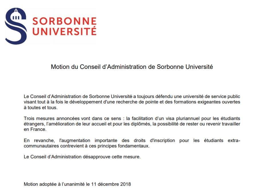 Le conseil d'administration de @Sorbonne_Univ_ a adopté une motion désapprouvant l'augmentation des frais de scolarité pour les étudiant.e.s étranger.ère.s originaires d'un pays extérieur à l'UE.   Le @collectifSU avait aussi pris position contre. https://doctoratp4.hypotheses.org/1931