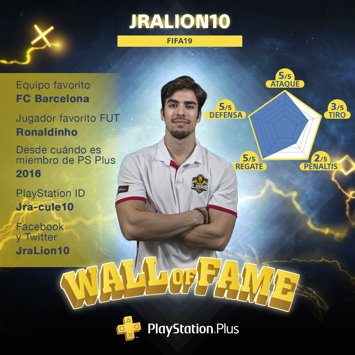 Esta semana en nuestra #WallOfFame os presentamos a @jralion10, uno de los 3 jugadores profesionales de #FIFA19 que representaron a España en la #ContinentalCup18.  ¿Preferirías retarlo a jugar un partido⚽️ o una ronda de penaltis 😂?  🎮 #CulturaGamer @LigaOficialPS