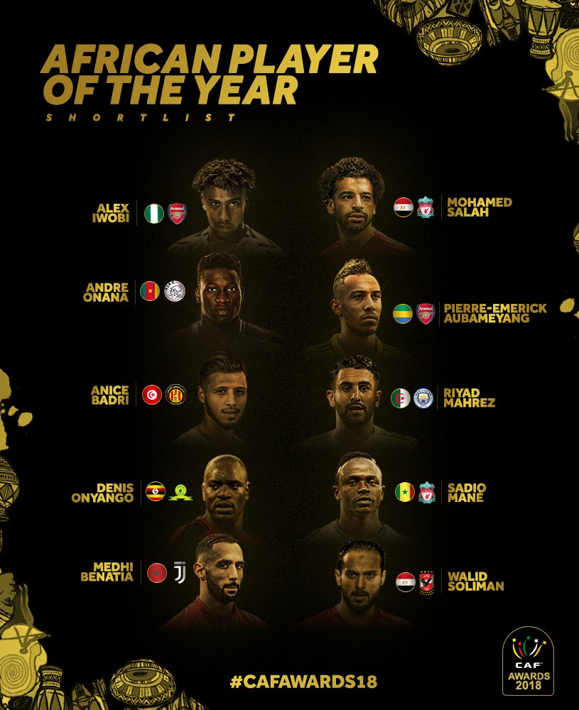 RT @CAF_Online: THE TOP 10 SHORTLIST: African Player of the year  #CAFAWARDS18 https://t.co/0lTh0cNZyx