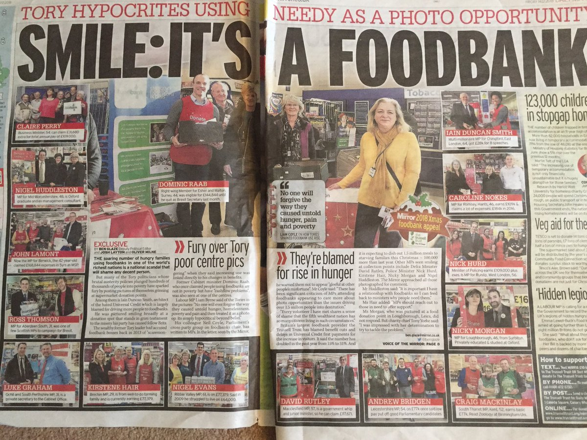 Shameless Con MPs using Foodbanks as smiley photo ops when their austerity, sanction and Universal Credit create the despairing need are crippled inside but dupe nobody