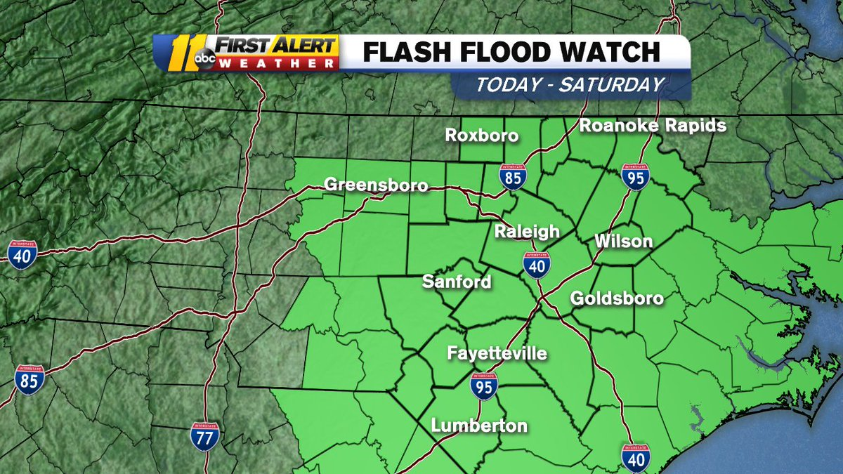 Rain today, heavy at times this afternoon and evening.  A Flash Flood Watch is in effect for today and tomorrow.  1-2&quot; of rain plus melting snow could cause some flood prone areas to have some minor flooding. <br>http://pic.twitter.com/YIYehxSN6V
