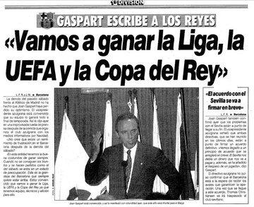 Joan Gaspart, optimista en la edición del 14 de diciembre de 1995 de MARCA: Vamos a ganar la Liga, la UEFA y la Copa del Rey. 💪 6 meses después: ◾ Liga 95/96: tercer puesto. ❌ ◾ Copa del Rey 95/96: subcampeón. ❌ ◾ UEFA 95/96: eliminado en semifinales. ❌
