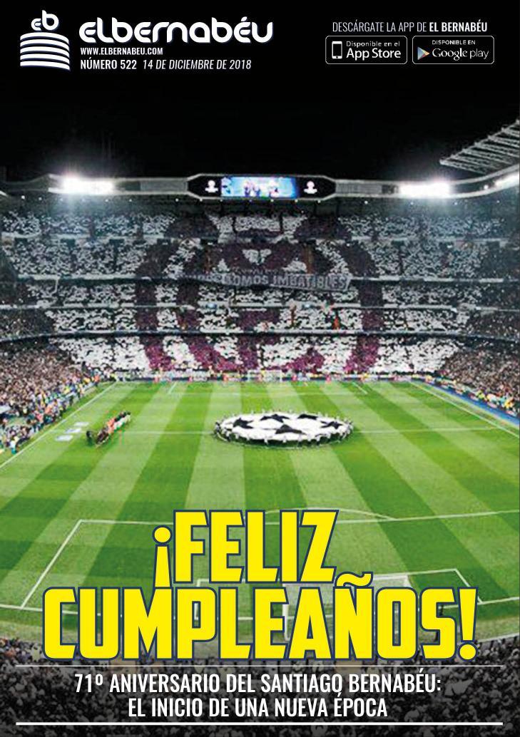 «¡Feliz cumpleaños!». El #EstadioSantiagoBernabéu cumple setenta y un años, pendiente de su remodelación. Estamos ante el inicio de una nueva época. #RealMadrid #HalaMadridYNadaMás