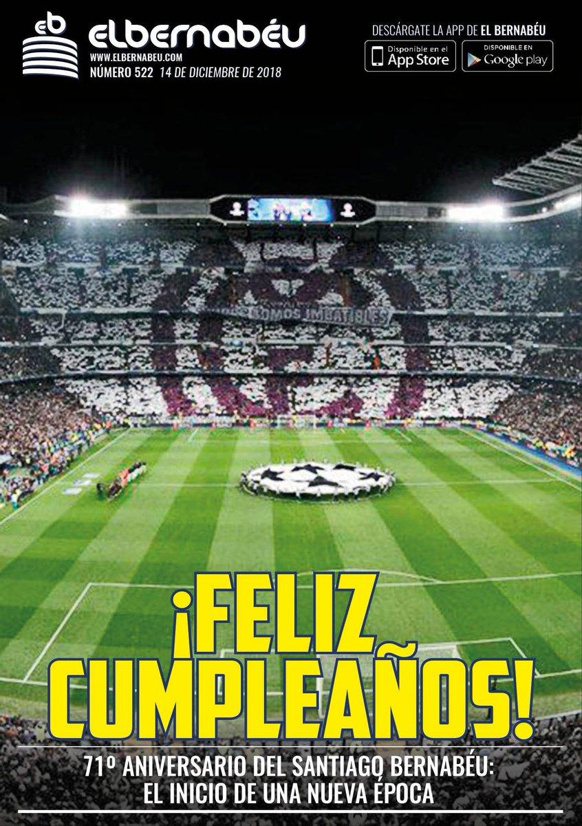 «¡Feliz cumpleaños!». Así titula @elbernabeucom su portada de hoy. El #EstadioSantiagoBernabéu cumple setenta y un años, pendiente de su remodelación. Estamos ante el inicio de una nueva época. #RealMadrid #HalaMadridYNadaMás