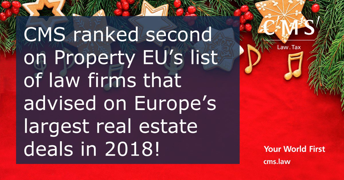 test Twitter Media - CMS ranked second on Property EU's list of law firms that advised on Europe's largest real estate deals in 2018! https://t.co/PfNnn5wJjW