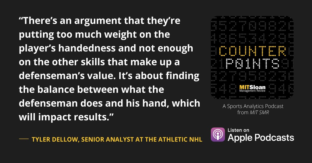 Has the @NHL gone overboard with pairing right handed defensemen with left handed defensemen? @dellowhockey from @TheAthleticNHL shares his data about defensemen parings → https://t.co/WtEBsvWTO5  We would love to hear your feedback, please leave us a review!