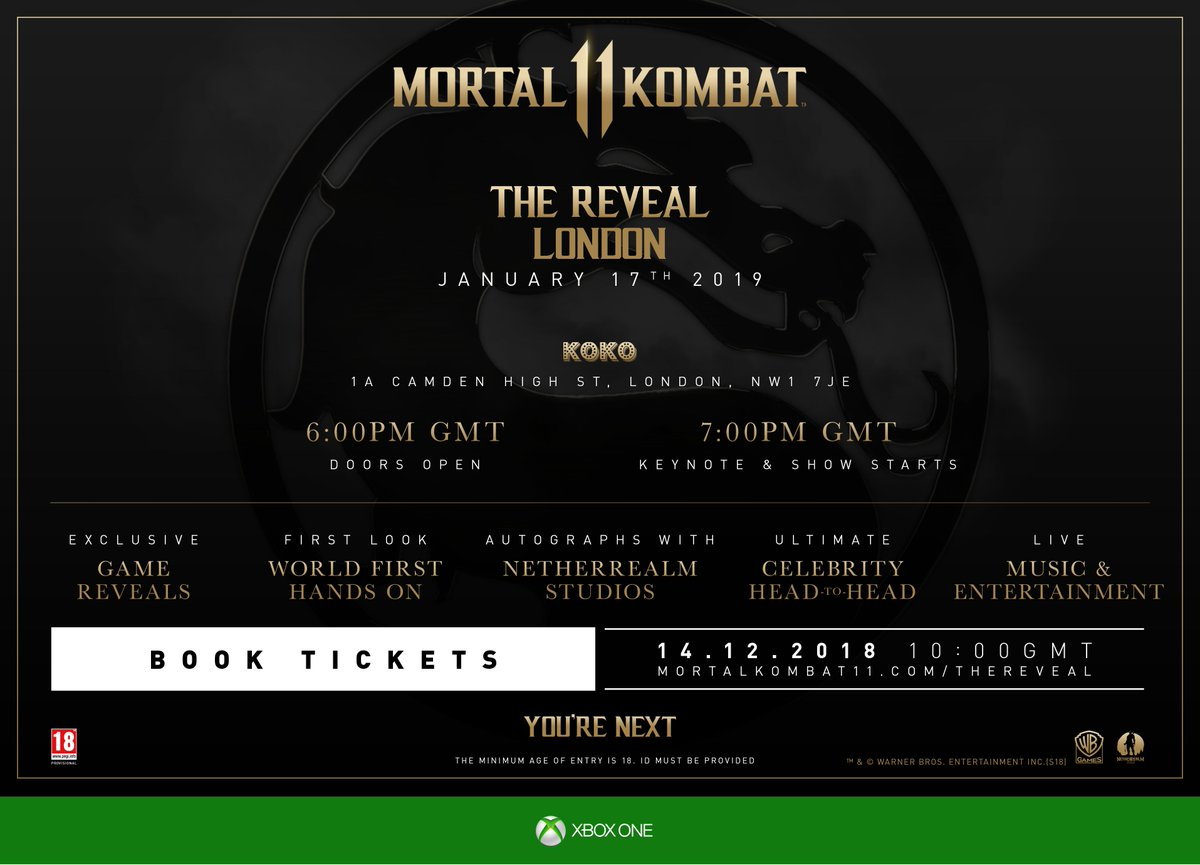 [EU News] #MK11 The Reveal - London tickets are now on sale! Get yours before its too late (max 4 per person) 👇 bit.ly/2Lf0dg9