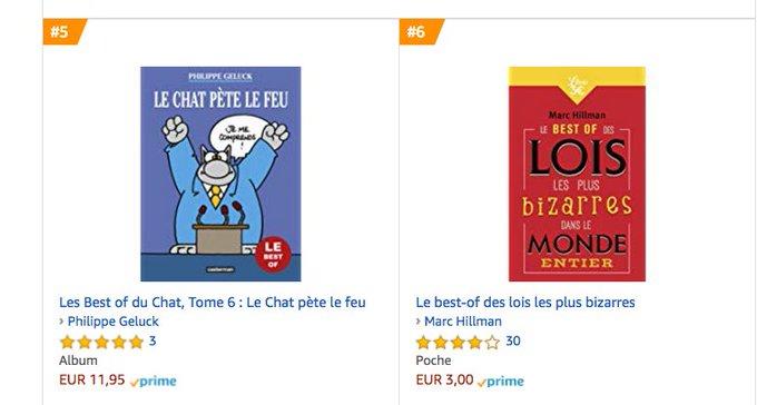 Les meilleures ventes en livres d'humour sur Amazon. À la sixième place, à côté...du chat de Geluck ! #VendrediLecture Photo