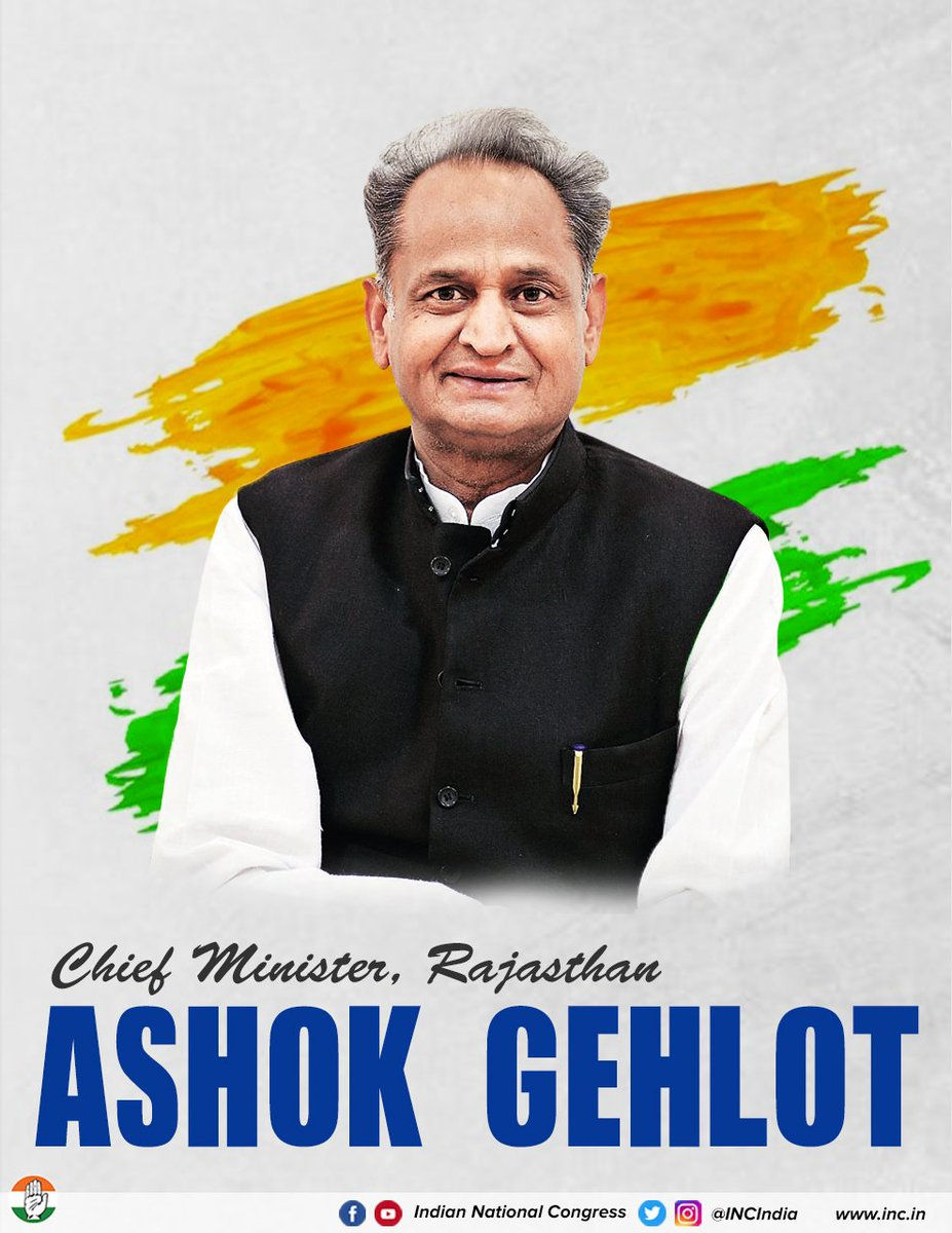 .@ashokgehlot51 a stalwart of the Congress party has been elected CM of Rajasthan. We wish him the best as he takes on this new appointment with vigour, sincerity & a commitment to our democratic values.