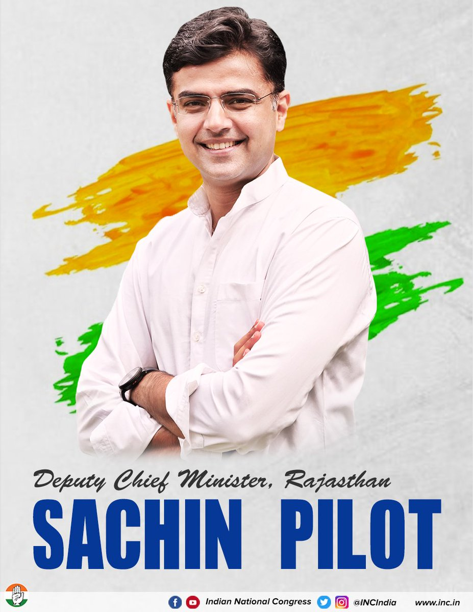 Our best wishes to Shri @SachinPilot, the new Deputy CM of Rajasthan. A young & dedicated leader, he is sure to bring development, peace & happiness to the people of Rajasthan.