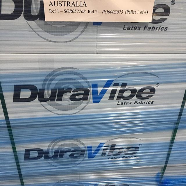 It's dispatch day, we are so proud to see our textiles being shipped from our warehouse after so much hard work has been invested developing class leading fabrics for print look where these 4 pallets are destined for !!! 🇦🇺 #duravibe #premier #premex #print #design #latex #h…