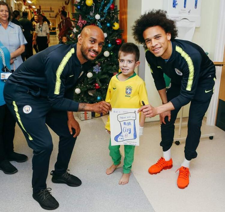 It was an honour bringing those brave kids a smile. Stay strong 🔥⚽️🔥 #LS19 #inSané @ManCity