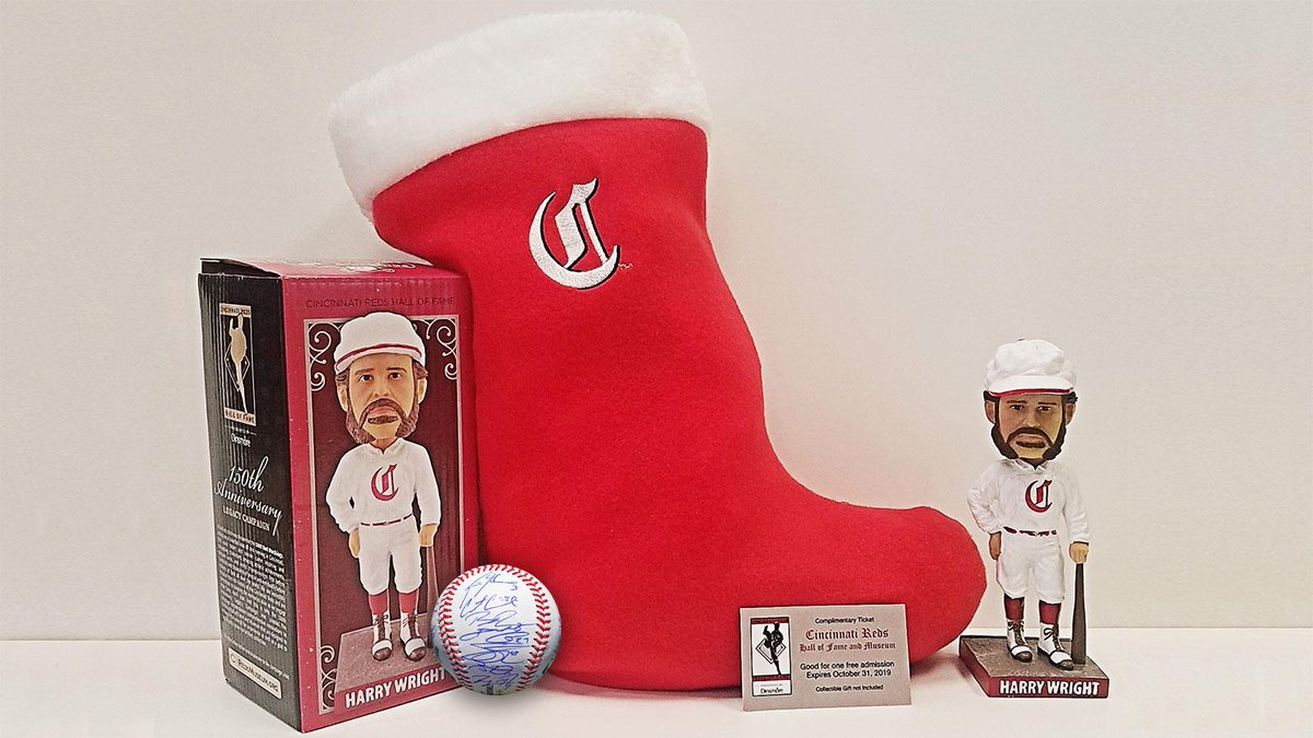One day of #Redsmas down, 11 to go! 🎅  RETWEET this by 7 p.m. ET for a chance to win a Reds Hall of Fame and Museum holiday package AND a 2018 team signed baseball!  @RedsMuseum package includes: 🎁 Reds stocking 🎁 Harry Wright bobblehead 🎁 Four (4) Reds Hall of Fame tickets