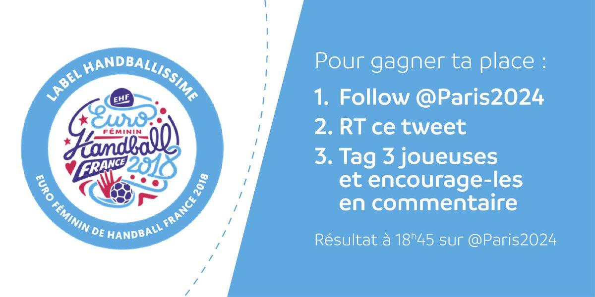🚨Ce soir c'est #FRABPS 🇫🇷🇳🇱 pour la demi-finale de #EHFEuro2018 🤾 ! Pour ce rendez-vous #handballissime Paris 2024 invite 2⃣ fans à vivre le match aux côtés des équipes de #Paris2024 ! Allez les filles, on sera derrière vous !