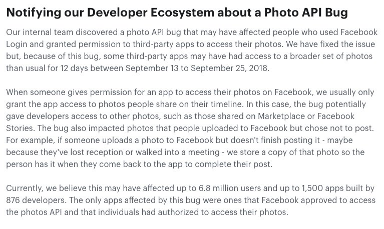 Facebook says a bug affecting up to 6.8 million users and 1,500 applications may have granted those third-party applications access to user photos between Sept. 13 and 25