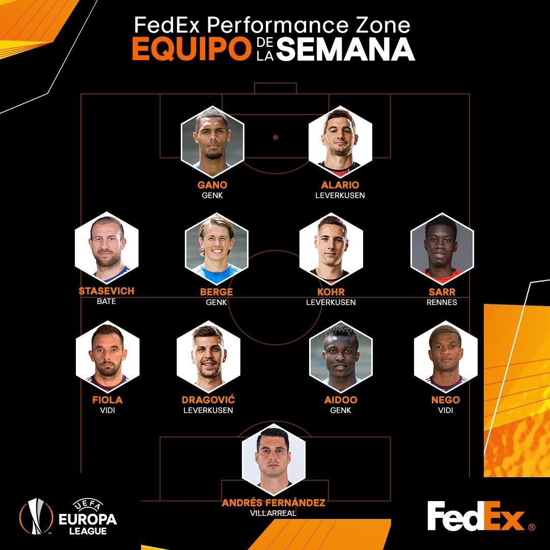 El portero @AndresFdez86, del @VillarrealCF, está en el Equipo de la Semana en la #UEL.¡Enhorabuena! 👏👏👏