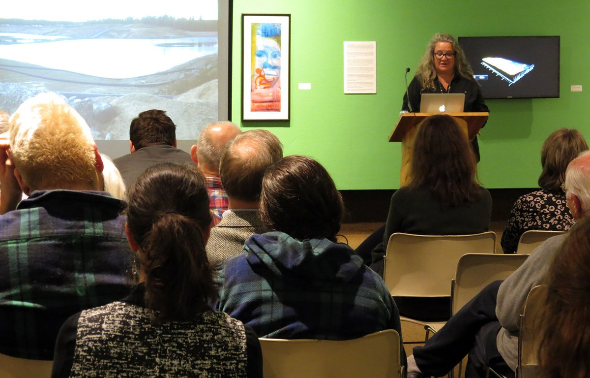 Excellent turnout @THEAG33 last night for the opening of the winter season and a talk by #CherylWilsonSmith about her career and show 21 Pillows until Mar 3. Haven't seen Carl Beam's Exorcism? You can until Mar 3. Vintage hand restored axes, and hatchets by Curtis MacKay Wilson.