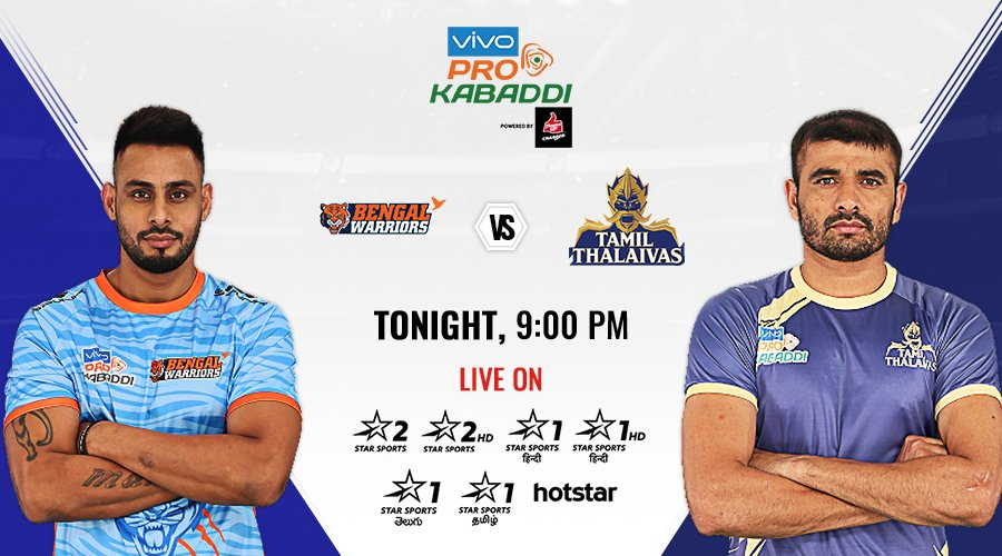 The flight to the #VivoProKabaddi Playoffs from Zone B still has all its 💺💺vacant.   Can @BengalWarriors claim one of them by making a late charge at the expense of @tamilthalaivas? Get all the answers from #KOLvCHE LIVE on Star Sports.