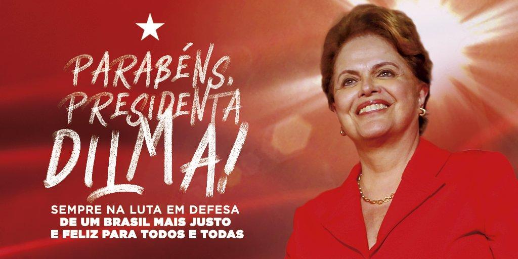 Nossos desejos sinceros para a nossa presidenta legítima.  Parabéns, @dilmabr, coração valente! ❤️✊