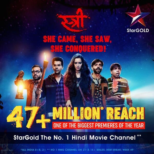 Woh aa gayi, aur sabke dilon pe chaa gayi! Thank you for making #StreeOnStarGold one of the biggest premieres