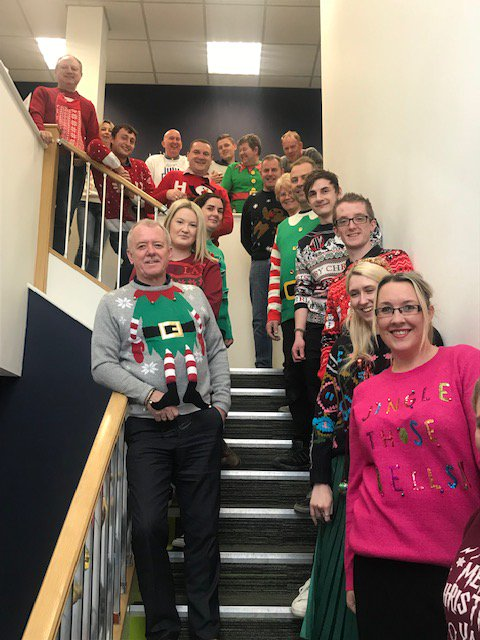 Staff at Stirland Paterson Printers in Ilkeston supporting @PlayGemRadio and @CashforKidsGem in their #missionchristmas #missionchristmasjumper #ChristmasJumperDay2018