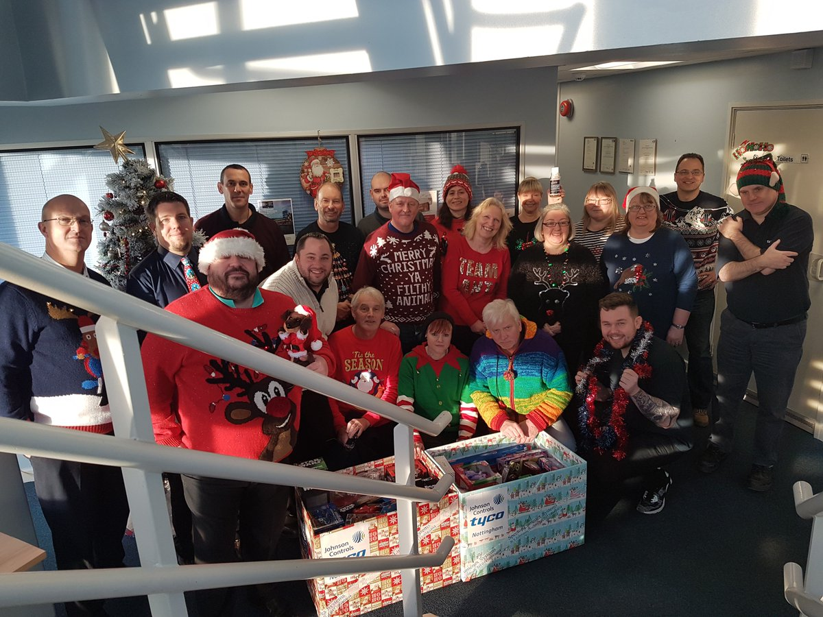 Thank you to Tyco Fire & Integrated Solutions for doing Christmas Jumper Day and donating some AMAZING gifts! 😊🎁 Look at all their lovely faces 🤩