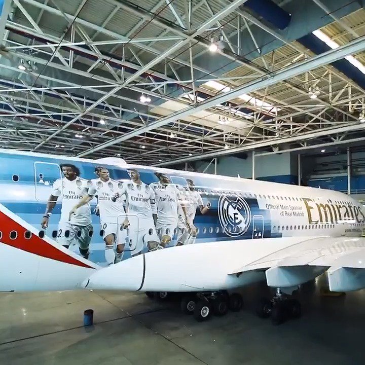 👀✈  Take a look at the new @RealMadrid @Emirates A380! #HalaMadrid